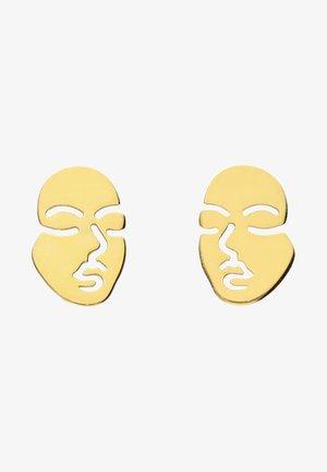 OHRSTECKER VERGOLDET AUS 925ER SILBER MIT CUT-OUT-GESICHT - Earrings - goldfarben