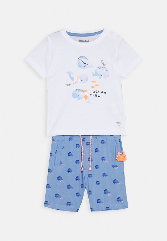 BABY SET - Tracksuit bottoms - light blue/off white