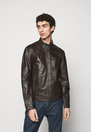 PEEL - Leather jacket - dark brown