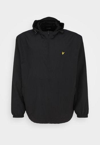 ZIP THROUGH HOODED JACKET - Summer jacket - jet black