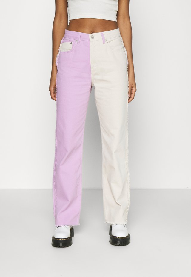 Jeans straight leg - lilac & beige