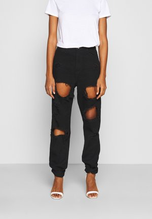 RIOT HIGH RISE RIPPED  - Jean boyfriend - black