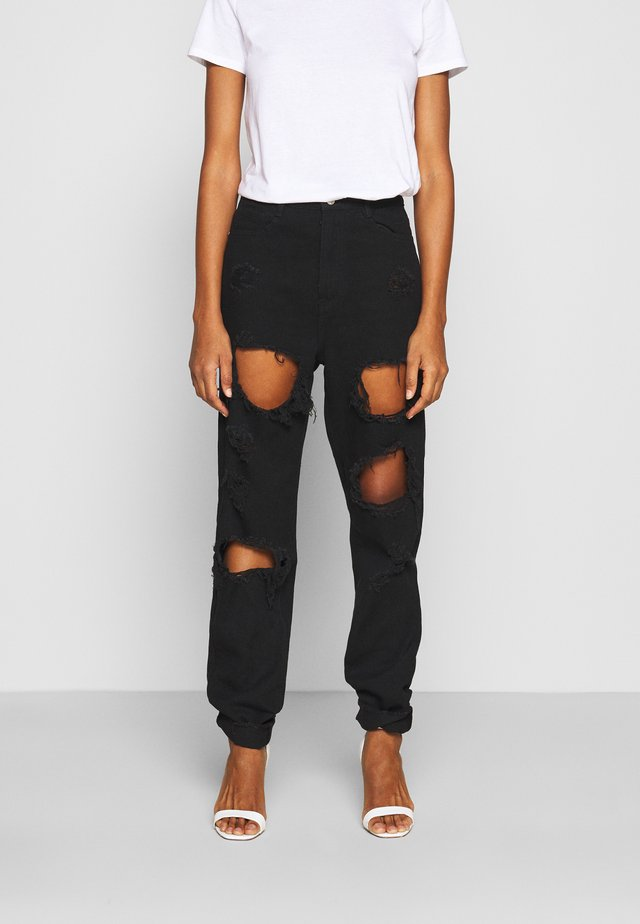 RIOT HIGH RISE RIPPED  - Džíny Relaxed Fit - black