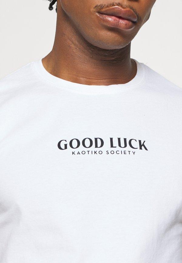 Kaotiko UNISEX GOOD LUCK - T-shirt z nadrukiem - white/biały Odzież Męska EKGG