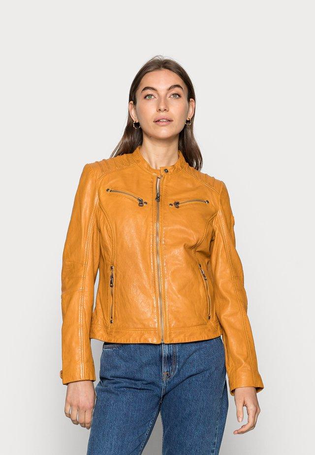 SALLA - Leather jacket - yellow