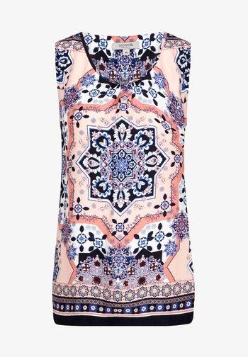 ÄRMELLOS - Blouse - marine scarf print