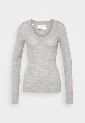 SLFCOSTA NEW DEEP U NECK  - Jumper - light grey melange