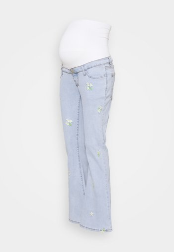 EMBROIDERED FLARED - Bootcut jeans - bleach stonewash