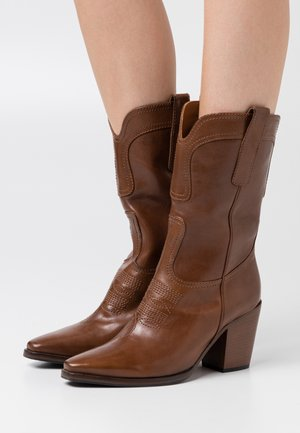 Cowboy/Biker boots - malaga cannella