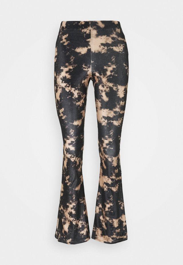 TIE DYE FLARE - Trousers - black