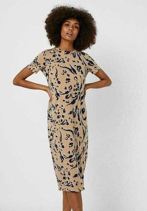 BEDRUCKTES MIDI - Jersey dress - mottled dark brown