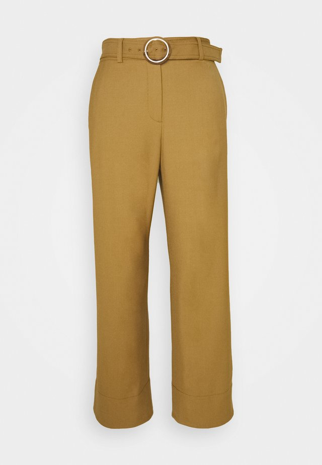 ROUND BUCKLE TROUSER - Kangashousut - brown