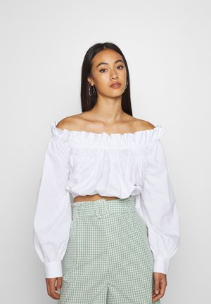 GATHERED BLOUSE - Bluser - white