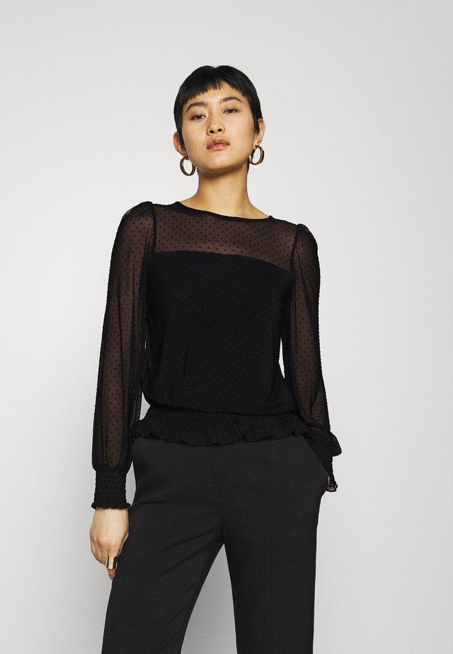 DOBBY SHIRRED - T-shirt à manches longues - black
