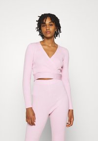 Missguided - WRAP FRONT LONG SLEEVE SET - Leggings - Trousers - pink - 2
