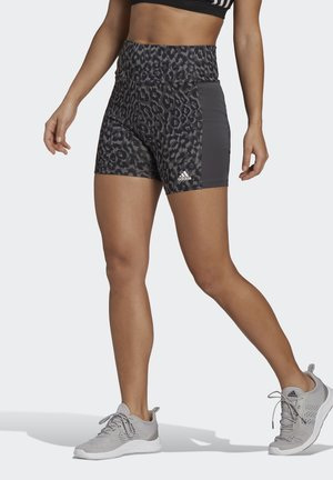 ADIDAS DESIGNED TO MOVE AEROREADY LEOPARD PRINT SHORT TIGHTS - Collant - grefou/gresix