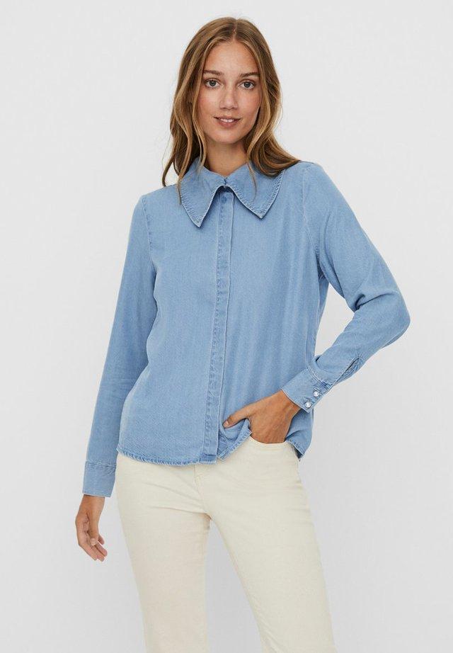 Button-down blouse - light blue denim