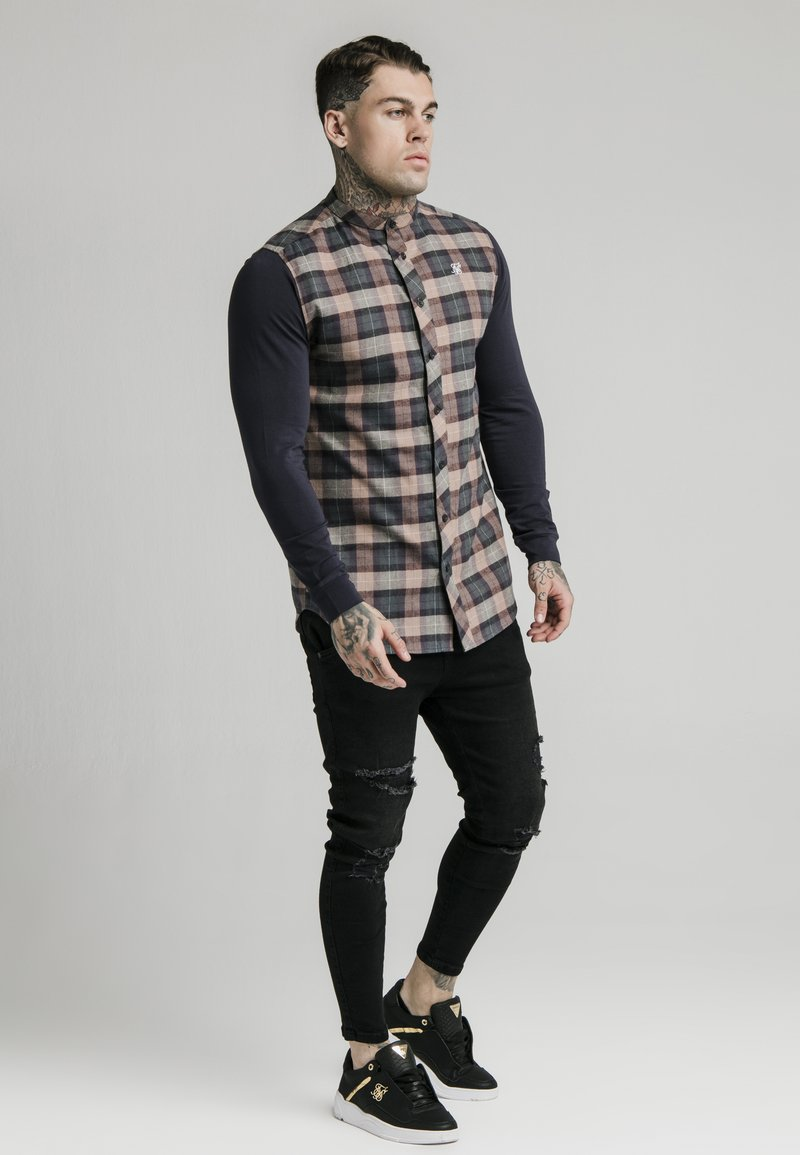 SIKSILK - LONG SLEEVE CHECK GRANDAD - Shirt - navy/tan