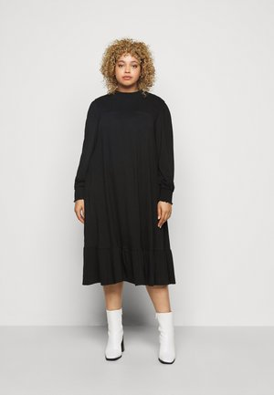 SHIRRED YOKE DRESS - Jersey dress - black