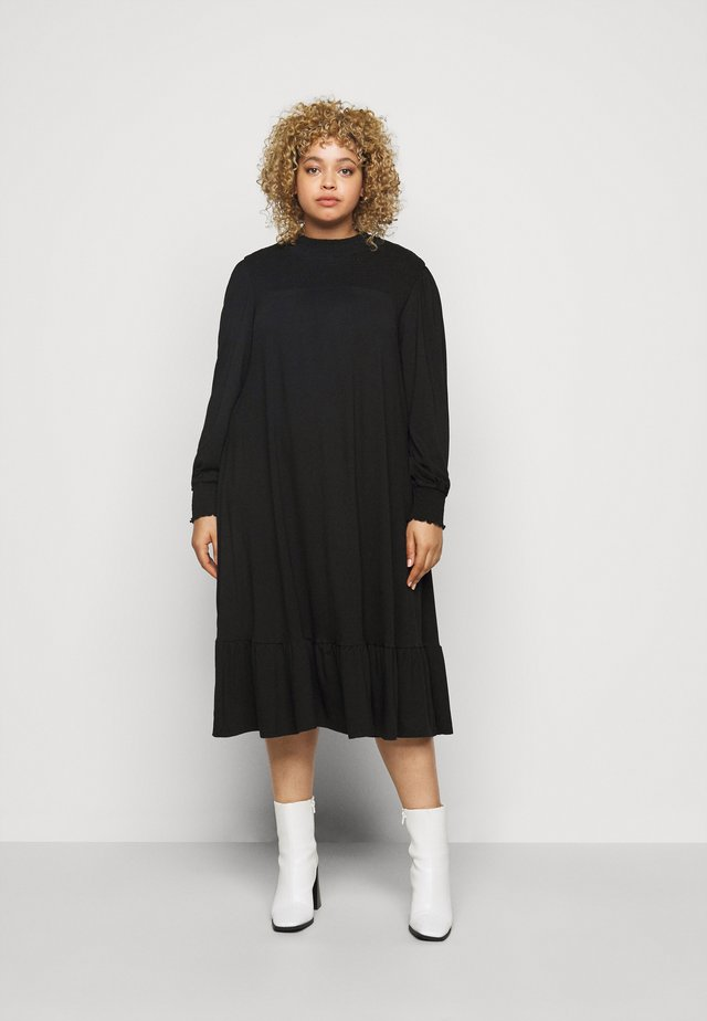 SHIRRED YOKE DRESS - Trikoomekko - black