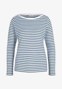 TOM TAILOR DENIM - CONTRAST NECK - Long sleeved top - white blue stripe - 4