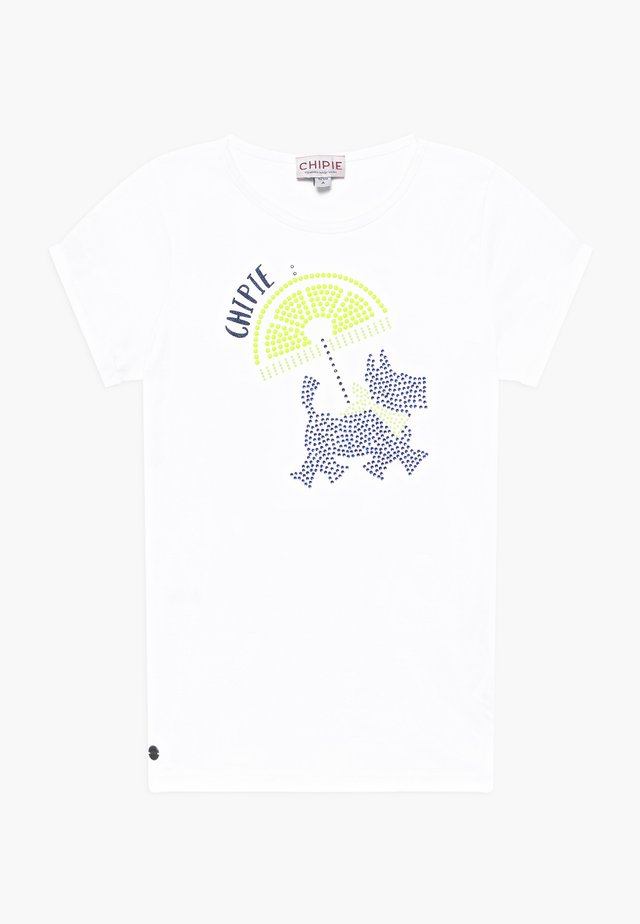 T-shirt med print - blanc