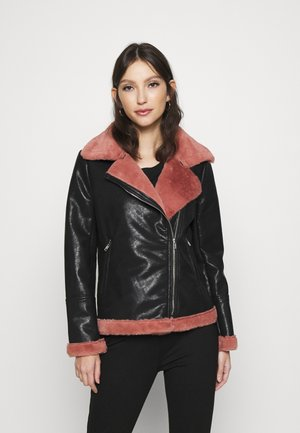 BIKER JACKET WITH LONG SLEEVES - Light jacket - black/pink