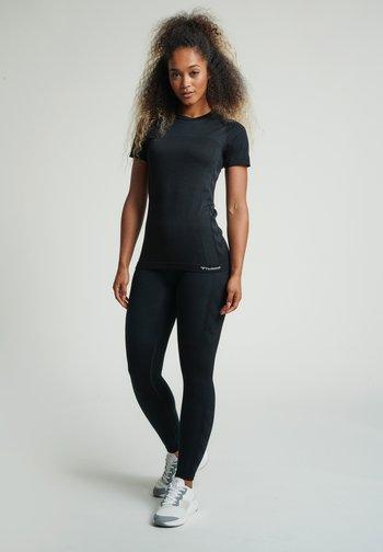 HMLCLEA SEAMLESS - Print T-shirt - black melange