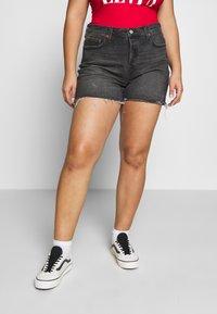 Levi's® Plus - 501® ORIGINAL SHORT - Denim shorts - black denim - 0