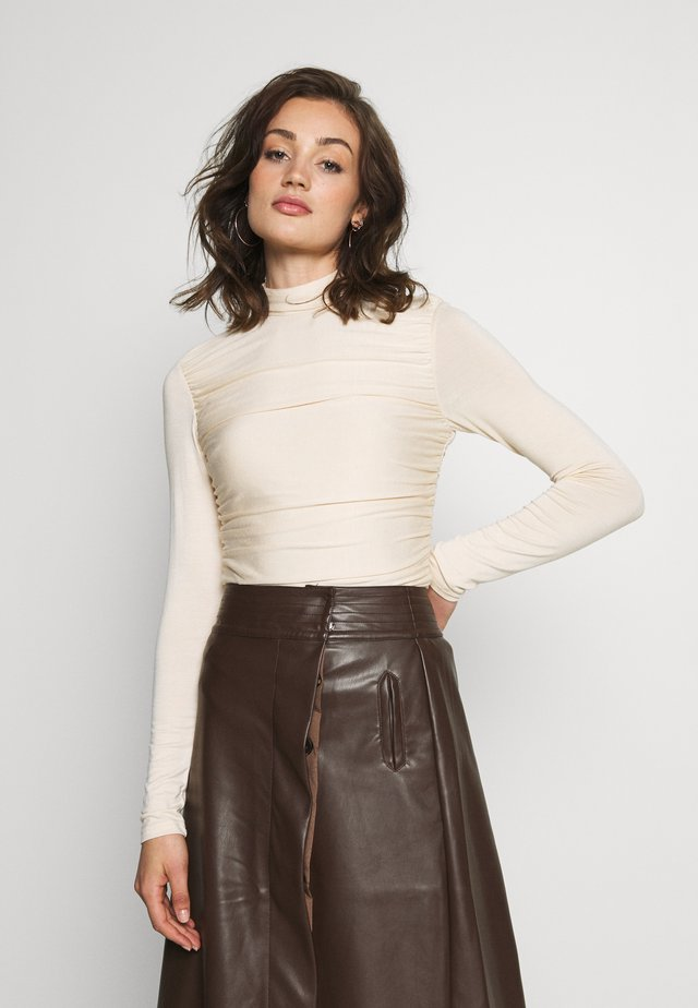 RUCHED DETAIL LONG SLEEVE - Long sleeved top - beige