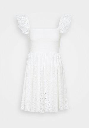 FRILL SLEEVE BRODERIE DRESS - Jersey dress - white
