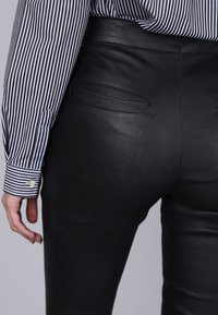 Basics and More - Leather trousers - black - 3
