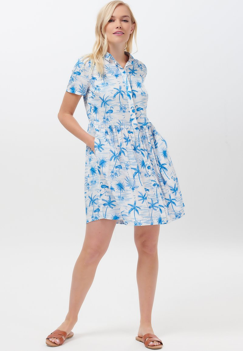 Sugarhill Brighton - KEELEY HAWAII FLAMINGO - Shirt dress - white