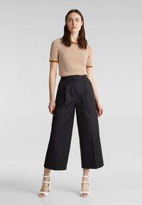 Esprit Collection - HIGH RISE CULOTTE - Trousers - black - 0