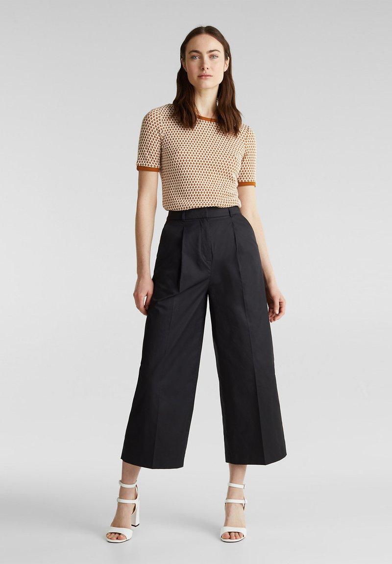 Esprit Collection - HIGH RISE CULOTTE - Trousers - black