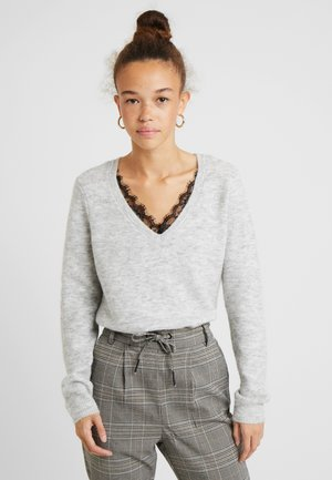 VMIVA VNECK  - Pullover - light grey melange/white melange