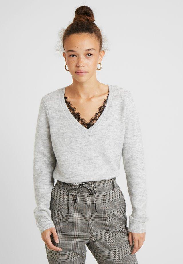 VMIVA VNECK  - Pullover - light grey melange/white melange