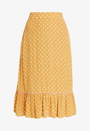 LEXY SKIRT - Áčková sukně - mustard yellow/off-white