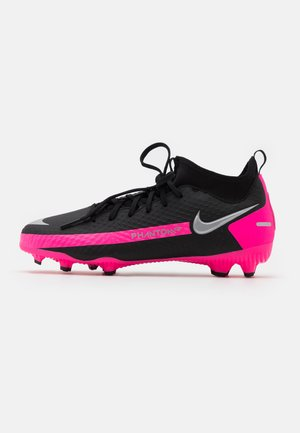 JR PHANTOM GT ACADEMY DF FG/MG UNISEX - Moulded stud football boots - black/metallic silver/pink blast