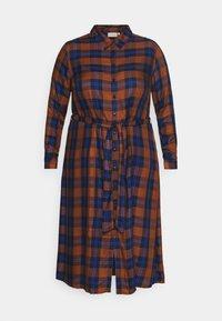 ONLY Carmakoma - CARVIKANA CALF CHECK SHIRT DRESS - Day dress - brown/blue - 4