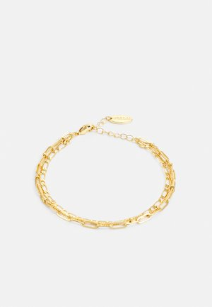 MIXED CHAIN 3 ROW BRACELET - Rannekoru - pale gold-coloured