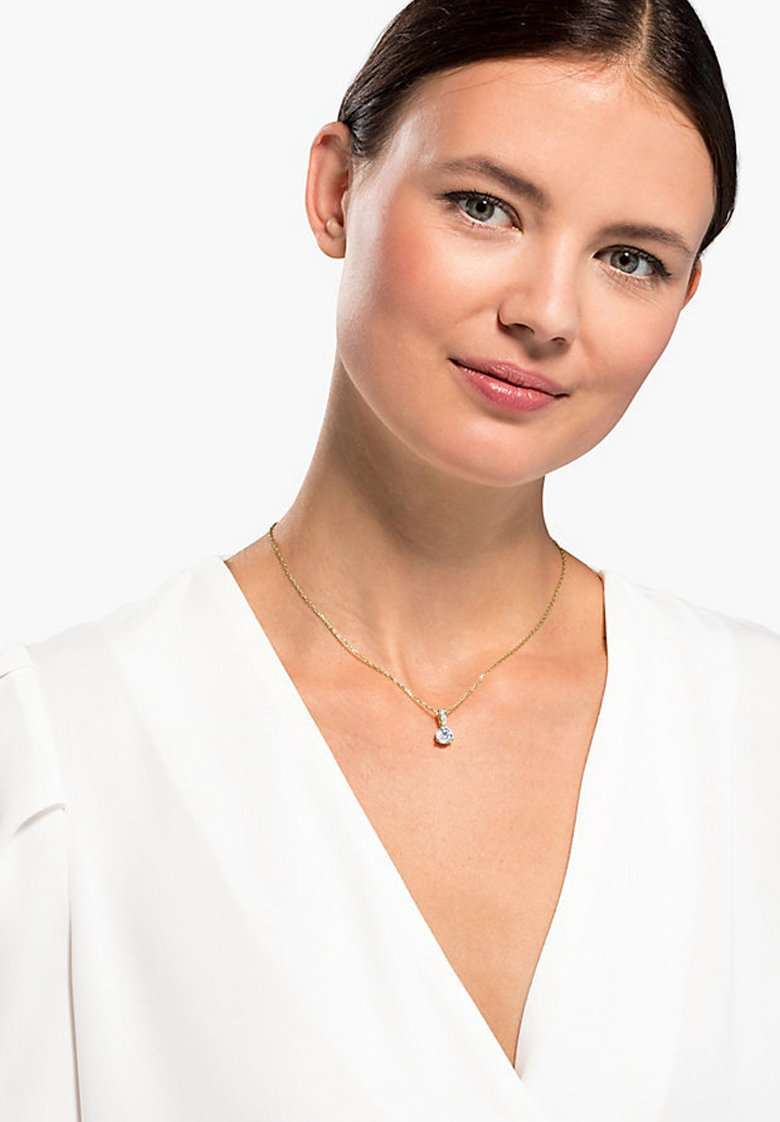 Women SOLITAIRE PENDANT, WHITE, GOLD-TONE PLATED - Necklace