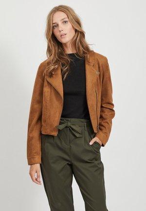 Faux leather jacket - oak brown