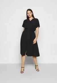 ONLY Carmakoma - CARTUKZU CALF SHIRT DRESS - Shirt dress - black - 0