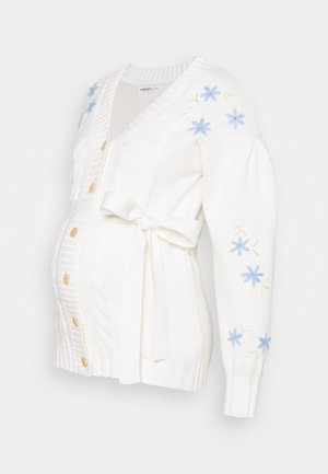 EMBROIDERED WITH LONG SLEEVES - Cardigan - cream