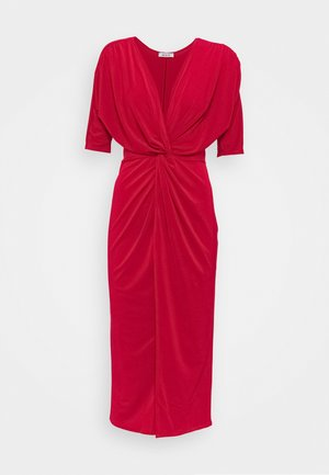 FRONT KNOT SLEEVE MIDI DRESS - Jersey dress - red