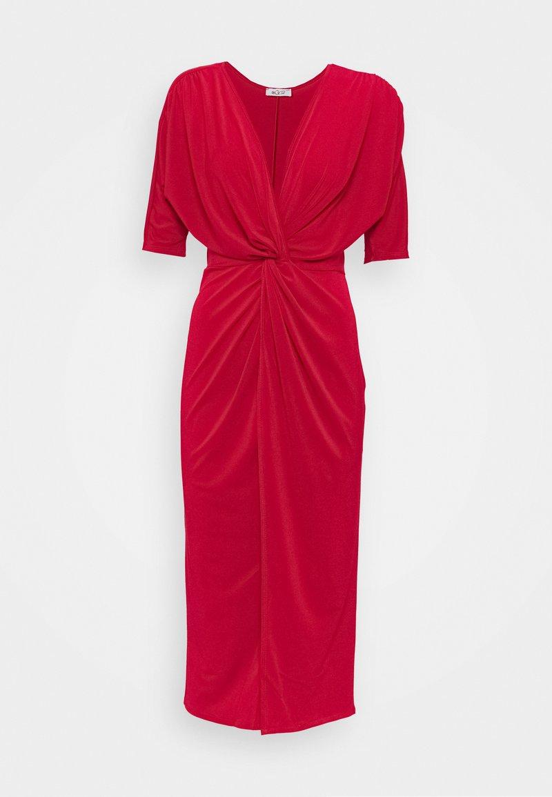 WAL G TALL - FRONT KNOT SLEEVE MIDI DRESS - Jersey dress - red