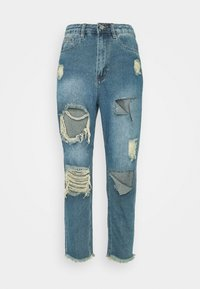 Missguided Petite - RIOT HIGH RISE RIPPED MOM AUTHENTIC - Jean boyfriend - blue - 3