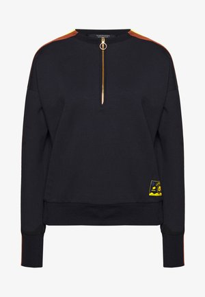 CREW NECK WITH TAPED SLEEVES AND ZIP AT FRONT - Sweater - navy