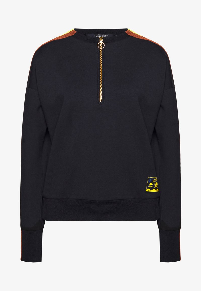 Scotch & Soda - CREW NECK WITH TAPED SLEEVES AND ZIP AT FRONT - Sweatshirt - navy